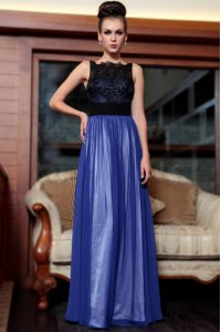 Exceptional Blue And Black Column/Sheath Beading and Appliques Mother Of The Bride Dress Side Zipper Chiffon Sleeveless Floor Length