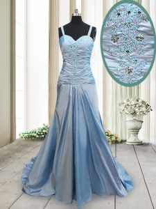 Suitable Straps Light Blue Criss Cross Mother Of The Bride Dress Beading Sleeveless With Train Sweep Train