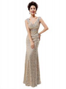Sleeveless Sequined Floor Length Zipper Mother Dresses in Champagne with Sequins