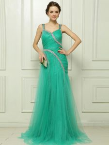 Turquoise Sleeveless Organza Brush Train Side Zipper Mother Of The Bride Dress for Prom and Party