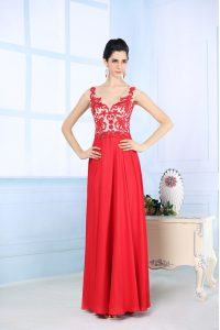 Floor Length Coral Red Mother Of The Bride Dress Chiffon Sleeveless Lace