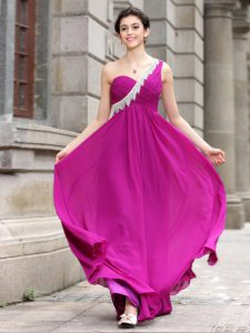 One Shoulder Floor Length Zipper Mother Of The Bride Dress Fuchsia for Prom and Party with Beading
