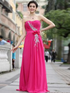 Super Hot Pink Zipper Mother Of The Bride Dress Beading and Hand Made Flower Sleeveless With Brush Train
