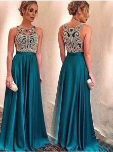 Edgy Scoop Sleeveless Zipper Mother Of The Bride Dress Teal Satin