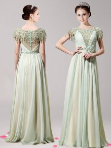 Superior Scoop Floor Length Apple Green Mother Of The Bride Dress Chiffon Short Sleeves Appliques
