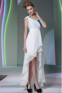 White Chiffon Side Zipper Asymmetric Sleeveless High Low Mother Of The Bride Dress Ruffled Layers and Sequins and Hand Made Flower