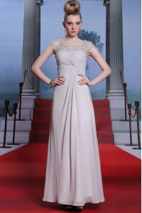 Silver Sleeveless Floor Length Beading and Lace and Ruching Side Zipper Mother Of The Bride Dress