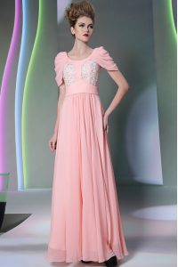 Baby Pink Empire Scoop Cap Sleeves Chiffon Floor Length Side Zipper Beading Mother Of The Bride Dress