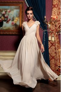 Stylish Champagne Chiffon Side Zipper V-neck Cap Sleeves Floor Length Mother Of The Bride Dress Beading and Hand Made Flower