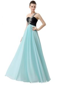 Blue And Black Empire One Shoulder Sleeveless Chiffon Floor Length Zipper Beading and Ruffles Mother Of The Bride Dress