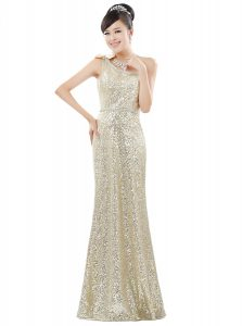Champagne Column/Sheath One Shoulder Sleeveless Sequined Floor Length Zipper Beading and Sequins Mother Of The Bride Dress