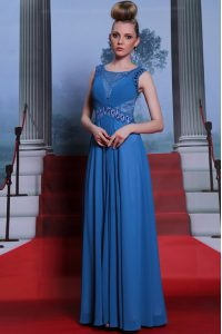 Glamorous Blue Chiffon Side Zipper Scoop Sleeveless Floor Length Mother Of The Bride Dress Beading and Ruching