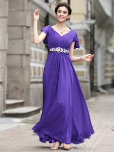 Smart Cap Sleeves Ankle Length Beading and Appliques and Ruching Zipper Mother of Groom Dress with Purple