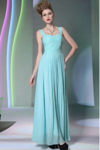 Excellent Aqua Blue Chiffon Zipper Straps Sleeveless Floor Length Mother Of The Bride Dress Beading