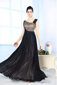 Flirting Black Chiffon Side Zipper Mother of Bride Dresses Sleeveless Floor Length Beading