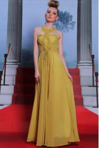 Scalloped Sleeveless Mother Of The Bride Dress Floor Length Appliques and Ruching Gold Chiffon