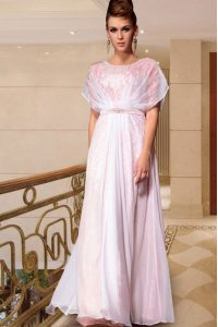 Pink Mother Of The Bride Dress Prom and Party with Beading Scoop Cap Sleeves Side Zipper