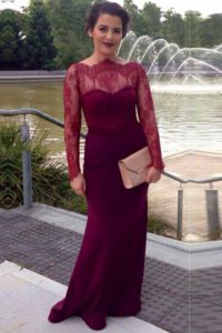 Scalloped Long Sleeves Elastic Woven Satin With Brush Train Clasp Handle Mother Of The Bride Dress in Fuchsia with Lace