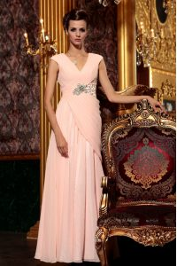 Cap Sleeves Beading and Embroidery and Ruching Side Zipper Mother Of The Bride Dress