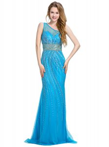 Inexpensive One Shoulder Baby Blue Tulle Zipper Mother Of The Bride Dress Sleeveless With Brush Train Beading