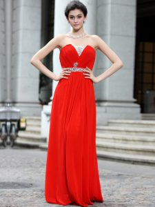 Strapless Sleeveless Zipper Mother Of The Bride Dress Coral Red Silk Like Satin