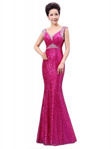 Fancy Fuchsia Zipper V-neck Sequins Mother Of The Bride Dress Sequined Sleeveless