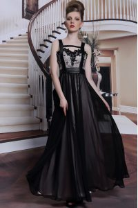 Custom Design Black Criss Cross Mother Of The Bride Dress Embroidery Sleeveless Floor Length