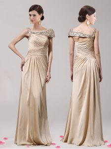 Suitable Asymmetric Sleeveless Side Zipper Mother Of The Bride Dress Champagne Elastic Woven Satin