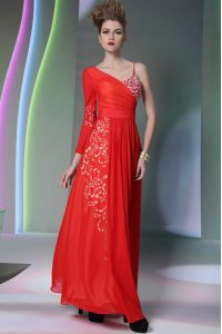 Coral Red Chiffon Side Zipper Mother Of The Bride Dress Long Sleeves Floor Length Beading and Embroidery