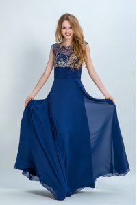 Traditional Scoop Beading Mother Of The Bride Dress Navy Blue Zipper Sleeveless Floor Length