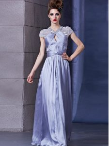 Artistic Halter Top Sleeveless Chiffon Floor Length Zipper Mother Dresses in Lavender with Beading and Ruching