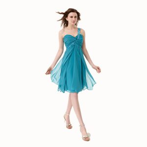 Fantastic One Shoulder Teal Sleeveless Chiffon Side Zipper Mother of the Bride Dress for Prom
