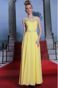 Spectacular Scoop Yellow Column/Sheath Lace Mother Of The Bride Dress Side Zipper Chiffon Sleeveless Floor Length