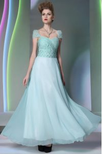 Glittering Light Blue Empire Beading and Lace Mother of Groom Dress Side Zipper Chiffon Cap Sleeves Floor Length
