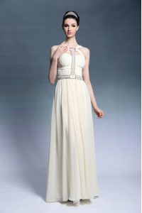 Cheap Sleeveless Side Zipper Floor Length Beading and Ruching Mother Of The Bride Dress