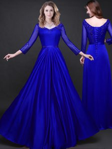Floor Length Royal Blue Mother Of The Bride Dress V-neck Long Sleeves Lace Up