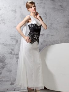 One Shoulder Sleeveless Chiffon Floor Length Side Zipper Mother Of The Bride Dress in White And Black with Lace