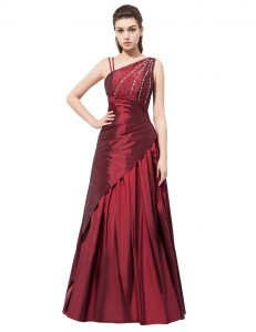 Burgundy Side Zipper Mother Of The Bride Dress Beading and Bowknot Sleeveless Floor Length