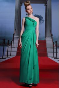 High Class One Shoulder Floor Length Empire Sleeveless Turquoise Mother Of The Bride Dress Side Zipper