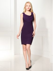 Amazing Scoop Mini Length Purple Mother Of The Bride Dress Silk Like Satin Sleeveless Ruffles