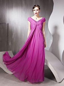 Rose Pink Mother Of The Bride Dress Prom and Party with Beading and Ruching V-neck Cap Sleeves Zipper