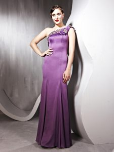 One Shoulder Lilac Side Zipper Mother Of The Bride Dress Beading Sleeveless Floor Length