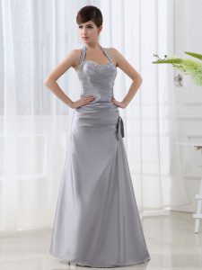 Designer Halter Top Sleeveless Floor Length Beading and Ruching Lace Up Mother Of The Bride Dress with Grey