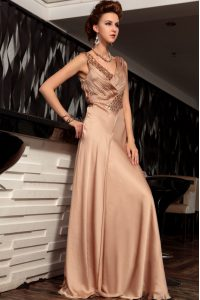 Sleeveless Satin Floor Length Backless Mother Of The Bride Dress in Brown with Beading and Ruching