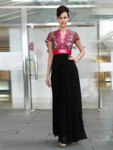 Short Sleeves Chiffon Ankle Length Zipper Mother of Groom Dress in Red And Black with Appliques and Ruching