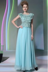 Scoop Floor Length Side Zipper Mother Of The Bride Dress Aqua Blue for Prom with Lace