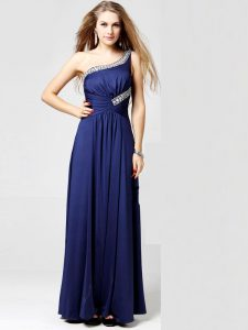 Fine Blue Column/Sheath One Shoulder Sleeveless Silk Like Satin Ankle Length Side Zipper Beading and Ruching Mother Of The Bride Dress