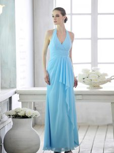 New Arrival Baby Blue Lace Up Halter Top Ruffles and Ruching Mother Of The Bride Dress Chiffon Sleeveless