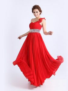 Excellent Chiffon One Shoulder Sleeveless Zipper Beading and Ruching and Pleated Mother Of The Bride Dress in Red