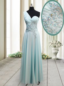 One Shoulder Beading and Appliques Mother Of The Bride Dress Light Blue Side Zipper Sleeveless Ankle Length